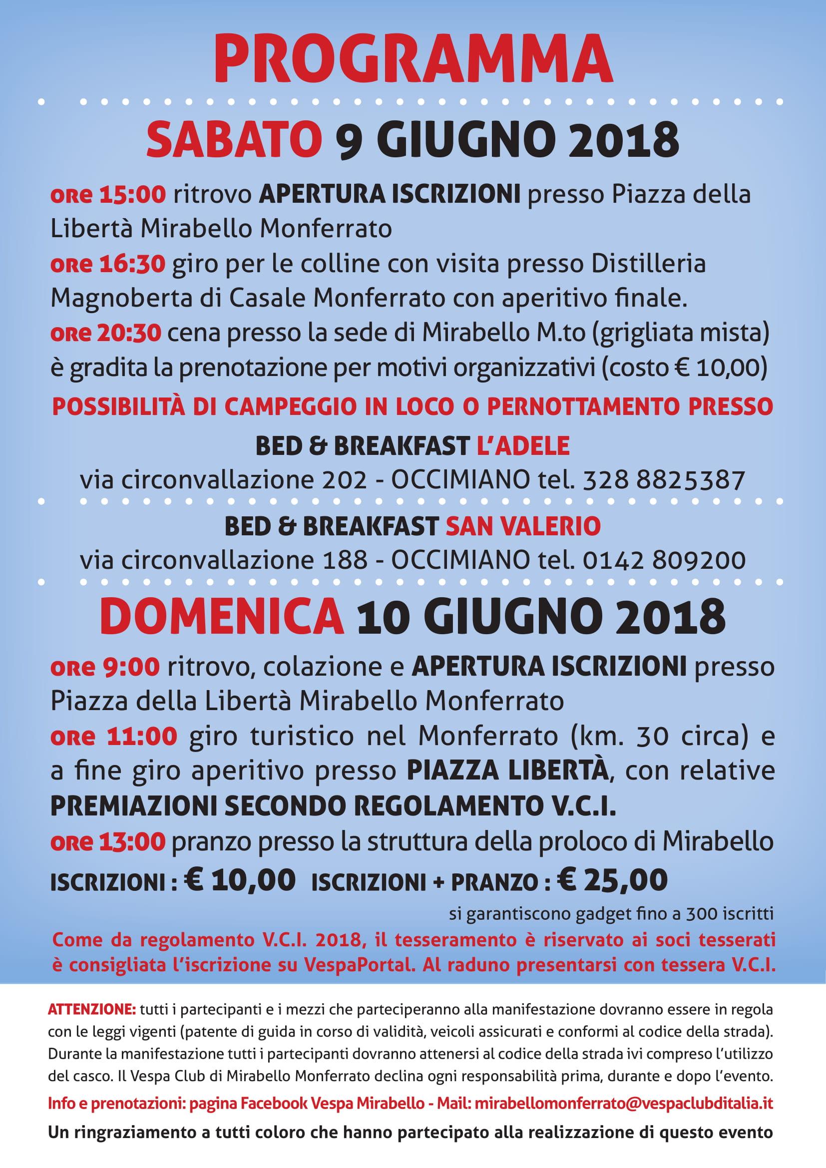 Programma 8 vesparaduno nazionale alle porte del monferrato 9-10 giugno2018